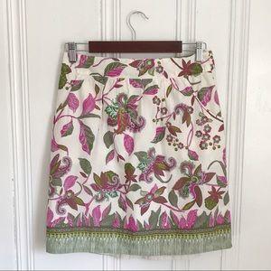 Anthropologie Floral Print Cotton Skirt S